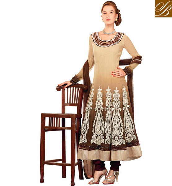 EYE-CATCHING COFFEE & CREAM OCCASION WEAR ANARKALI SUIT RTBIN8001B
