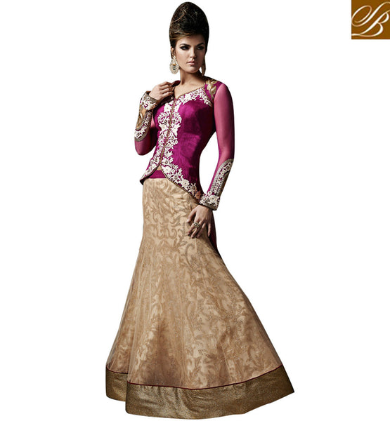 LATEST BRIDAL LEHENGA WITH LONG CHOLI DESIGNS 2015 SUPERB LEHENGA WITH LONG CHOLI FOR BRIDES WITH SHORT FRONT AND LONG BACK