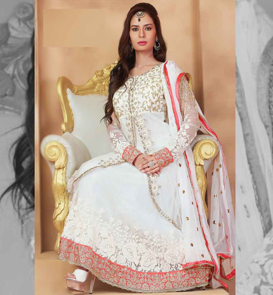 DOUBLE LAYERED NET EMBROIDERED ANARKALI DRESS MATERIAL PINK COLOR RUHANI WHITE 8001
