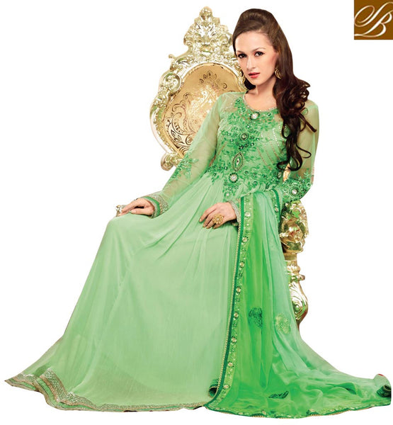 ATTENTION-GRABBING GREEN OCCASION WEAR ANARKALI SUIT RTBIN8002A