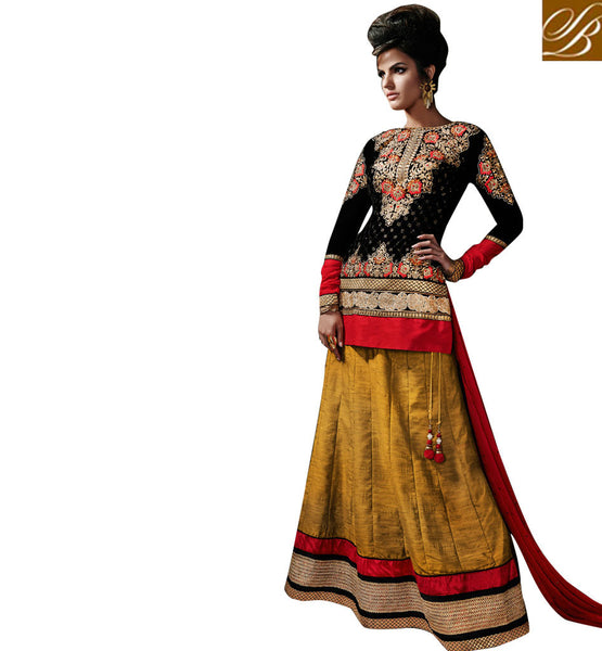 WEDDING LEHENGA WITH LONG CHOLI DESIGNS WITH PRICE  BLACK CHOLI WITH MUSTARD LEHENGA TO WEAR AT THE WEDDINGS