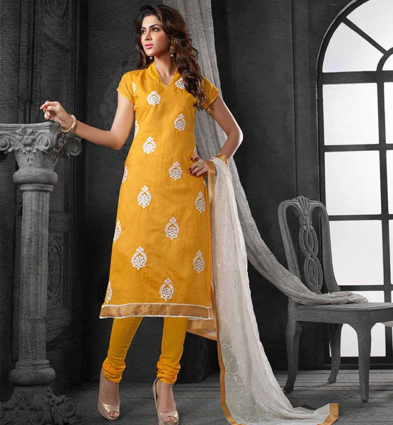 LADIES CHANDERI COTTON OFFICE WEAR SALWAR SUIT NAZNEEN DUPATTA