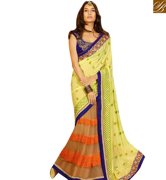 STYLISH BAZAAR PLEASING ORANGE & PISTA GREEN GEORGETTE HALF N HALF DESIGNER SAREE KEEP BLUE VELVET BLOUSE SLSWT8002