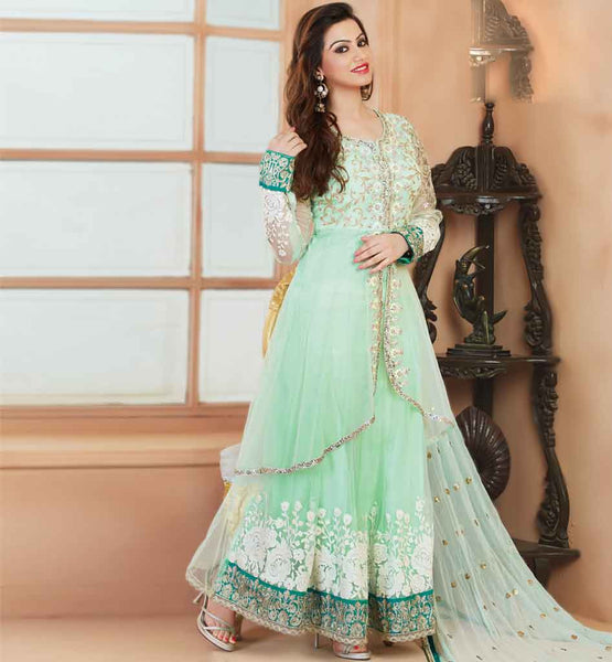 DOUBLE LAYERED NET EMBROIDERED ANARKALI DRESS MATERIAL PINK COLOR RUHANI WHITE 8001DOUBLE LAYERED NET EMBROIDERED ANARKALI DRESS MATERIAL PINK COLOR RUHANI SEA GREEN 8002