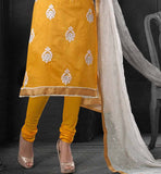 yellow embroidred dress with churidar salwar and dupatta