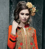FLORAL EMBROIDERED GREY KAMEEZ WITH DESIGNER SALWAR AND DUPATTA