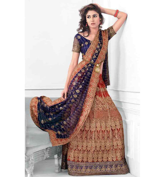 BOLD BLUE & MAROON LEHENGA CHOLI RTXL8003C - STYLISHBAZAAR - Bridal Lehenga Choli, Bridal Lehenga Choli Online, Buy Lehenga Choli Online, Bridal Lehenga Choli Online Shopping, Shop Online for Bridal Lehenga Choli