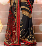 DESIGNER BLACK GEORGETTE PRINTED CASUAL WEAR SAREE BLOUSE DESIGNS