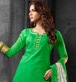 SUMMER FRESH green CHANDERI COTTON SALWAR KAMEEZ TO KEEP YOU GOING