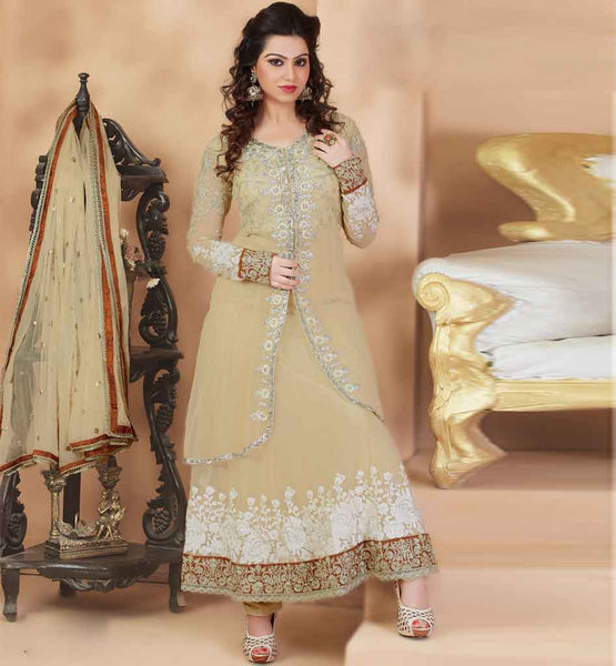 DOUBLE LAYERED NET EMBROIDERED ANARKALI DRESS MATERIAL PINK COLOR RUHANI WHITE 8001DOUBLE LAYERED NET EMBROIDERED ANARKALI DRESS MATERIAL PINK COLOR RUHANI LIGHT CHIKOO 8003