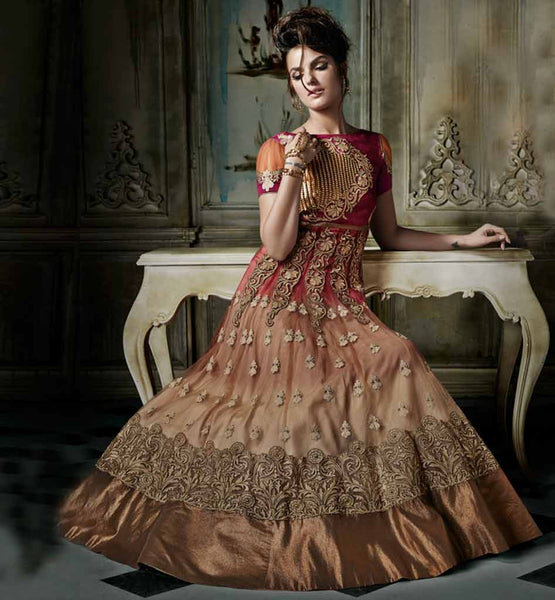 WEDDING WEAR HEAVY ANARKALI SUITS ONLINE SHOPPING SHADED CREAM AND PINK ZARI WORK MARRIAGE COLLECTION ANARKALI DRESS