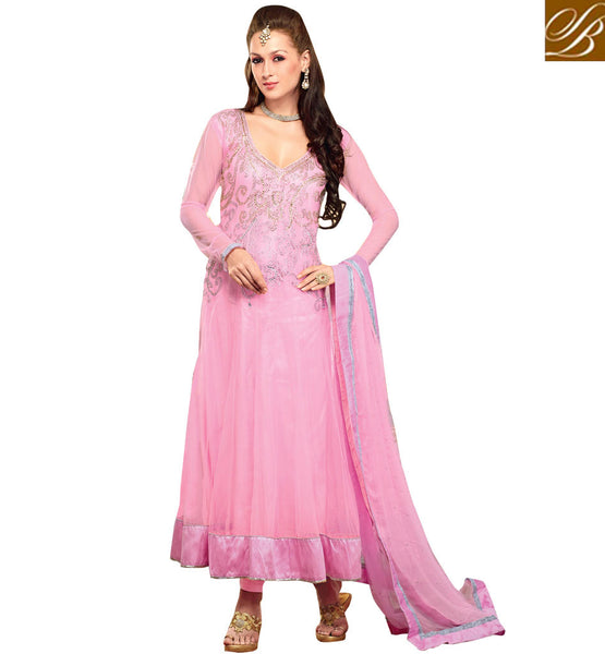 AWESOME PINK OCCASION WEAR ANARKALI SUIT RTBIN8004B