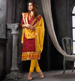 FEMALE APPAREL SHOPPING INDIA CHANDERI COTTON STRAIGHT SALWAR SUIT