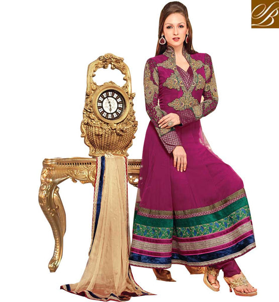 REMARKABLE PINK OCCASION WEAR ANARKALI SUIT RTBIN8005A