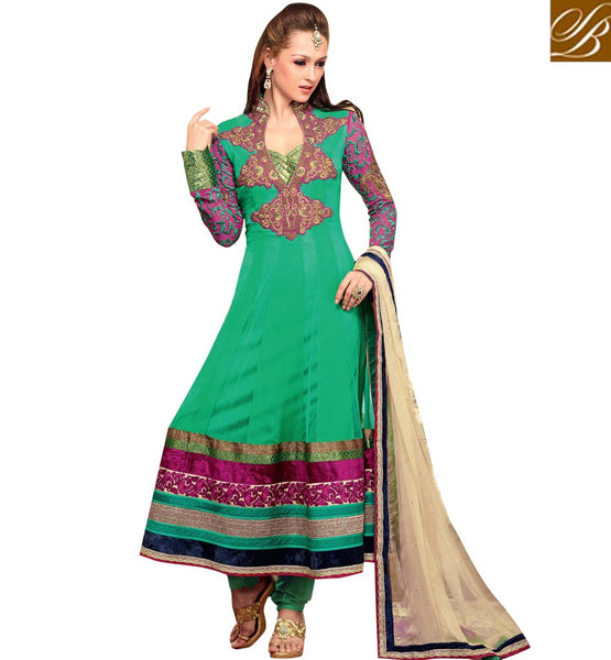 INCREDIBLE GREEN OCCASION WEAR ANARKALI SUIT RTBIN8005B