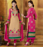 Georgette Designer salwar kameez with chiffon dupatta Online Shopping India Cream & Black