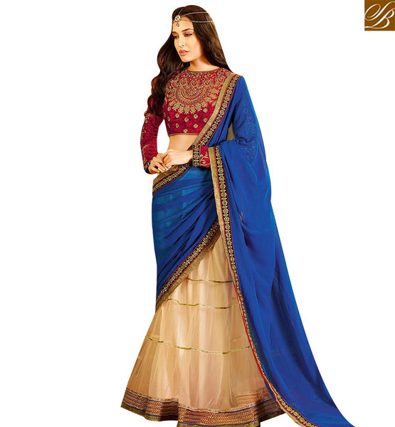 STYLISH BAZAAR BEAUTIFUL CREAM AND BLUE NET GEORGETTE DESIGNER SAREE KEEP HEAVY EMBROIDERED BLOUSE SLSWT8005