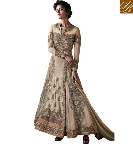 HEAVY WEDDING WEAR ANARKALI DESIGNS ONLINE SHOPPING  CREAM DESIGNER HEAVY ZARI WORK ANARKALI TO WEAR AT THE WEDDINGS