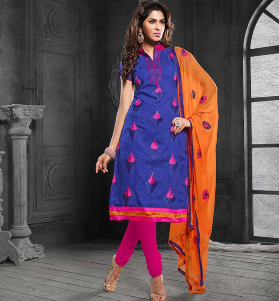 CURRENT FASHION LADIES WEAR CHANDERI COTTON SALWAR KAMEEZ DRESS