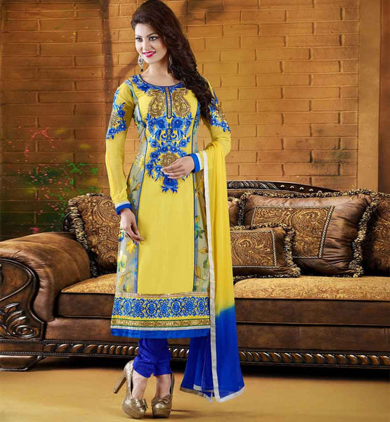 Yellow Georgette Designer salwar kameez with chiffon dupatta Online Shopping India