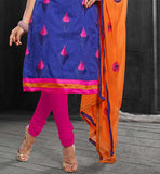 Pink cotton salwar orange embroidered dupatta.