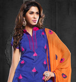blue color genuine chanderi cotton fabric straight pattern salwar suit