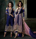 INDIAN WEDDING DRESSES FOR GUESTS ONLINE SHOPPING NAVY BLUE RICH EMBROIDERY AND ZARI WORK MARRIAGE DESIGN SALWAR SUIT