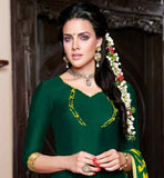 EXCELLENT GREEN PUNJABI KURTI WITH YELLOW PATIALA AND PRINTED ODHNI