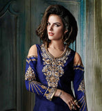 NAVY BLUE RICH EMBROIDERY AND ZARI WORK MARRIAGE DESIGN SALWAR SUIT BANGALORE SILK AND NET RICH DETAILED TOP WITH PURE CHIFFON ODHNI