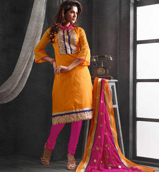 OFFICE WEAR SALWAR SUIT MODERN LOOK CONTEMPORARY CHANDERI COTTON