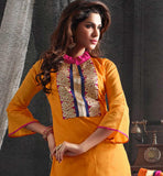 Orange color real chanderi cotton fabric straight pattern salwar suit
