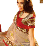 WONDERFUL CREAM AND WINE HEAVY EMBROIDERED SAREE WITH LACE BORDER WORK SLSWT8008