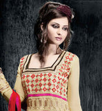 STUNNING BEIGE EMBROIDERED DRESS WITH MULTI-LAYERED EMBROIDERY WORK