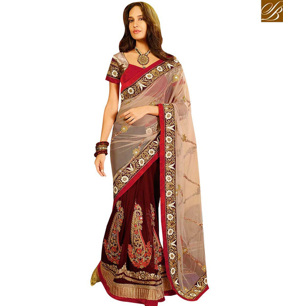STYLISH BAZAAR WONDERFUL CREAM AND WINE HEAVY EMBROIDERED SAREE WITH LACE BORDER WORK SLSWT8008
