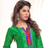PURE JACQUARD GREEN EVERSTYLISH OFFICE WEAR KURTI WITH SALWAR & ODHNI