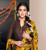 SMART COLOR COMBINATION BROWN TOP WITH YELLOW PATIALA