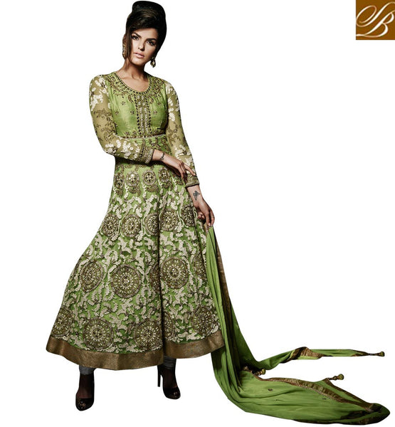 DESIGNER WEDDING ANARKALI DRESSES ONLINE SHOPPING  GREEN ANARKALI DRESS TO WEAR AT THE WEDDINGS WITH HEAVY OVERALL WORK