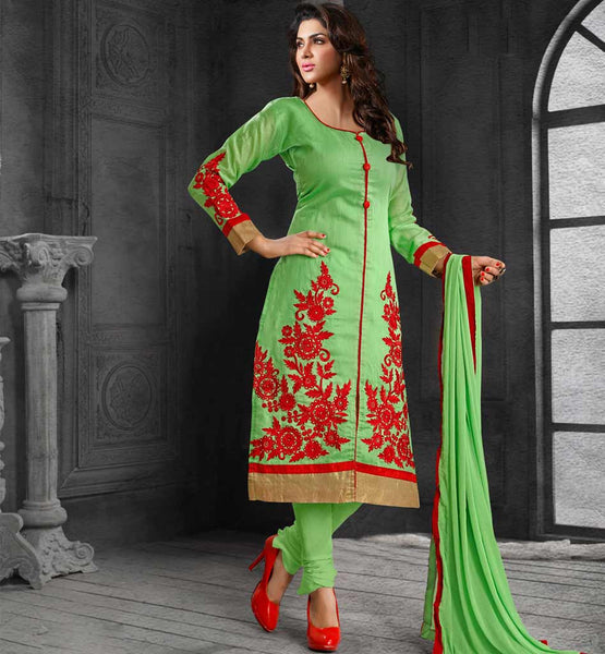 OFFICE WEAR DRESS FRESH LOOK CHANDERI COTTON WOMEN'S SALWAR KAMEEZ