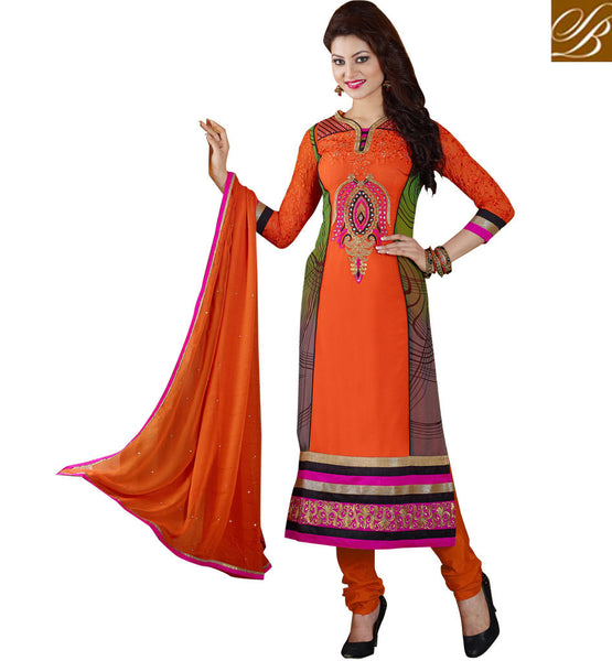 Straight Cut Georgette Designer salwar kameez with chiffon dupatta Online Shopping India