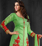 light green color chanderi cotton salwar kameez for women.