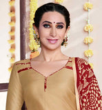 KARISHMA KAPOOR BEAUTIFUL BEIGE KURTI WITH POLY COTTON PATIALA