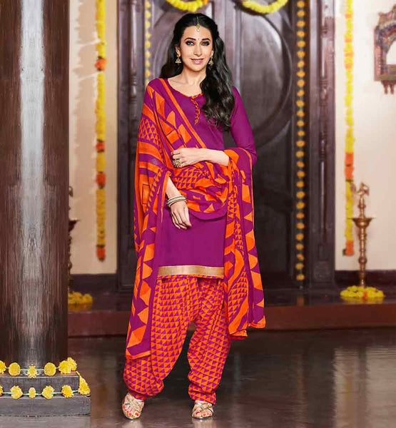 PUNJABI SUIT PATIALA BOTTOM COMBINATION CASUAL WEAR FOR OFFICE WEAR OR DAY TO DAY WEAR DRESS RAJA BABU FAME GIRL KARISHMA KAPOOR RANI TOP WITH ORANGE PATIALA