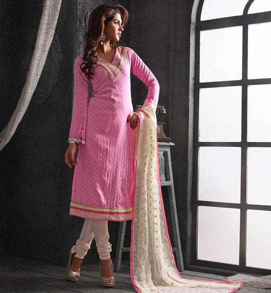NOTICEABLE PINK CHANDERI COTTON STRAIGHT PATTERN SALWAR KAMEEZ