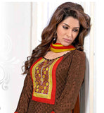 SMART LOOK BROWN OFFICE WEAR DRESS WITH YELLOW BOTTOM AND ODHNI