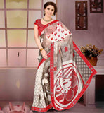 STYLISH-SAREE-DRAPING-WITH-NEW-DESIGNS-OF-BLOUSES-COLLECTION-GREY-AND-OFF-WHITE-GEORGETTE-SARI-WITH-RED-PURE-DUPION-BLOUSE