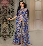 STYLISH-SAREES-COLLECTION-WITH-NEW-DESIGNS-OF-BLOUSES-COLLECTION-BEIGE-AND-BLUE-GEORGETTE-SARI-WITH-PURE-DUPION-CHOLI