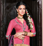 PINK COTTON KAMEEZ WITH OFF-WHITE PATIALA  AND PRINTED DUPATTA