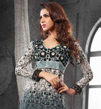 Lovely Grey Chanderi cotton material straight pattern shalwar qameez suit