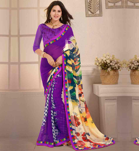 IMAGE OF DRAPE-SAREE-WEAR-WITH-HIGH-NECK-BLOUSE-DESIGNS-COLLECTION-MAGNIFICENT-PURPLE-GEORGETTE-SARI-WITH-MATCHING-BLOUSE