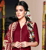 MAJESTIC MAROON TOP WITH PRINTED PATIALA AND DUPATTA
